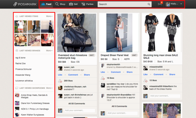 Toolbar and Last View on Poshmark
